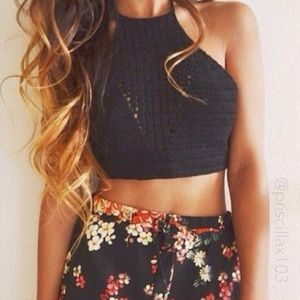 Black crochet crop halter top